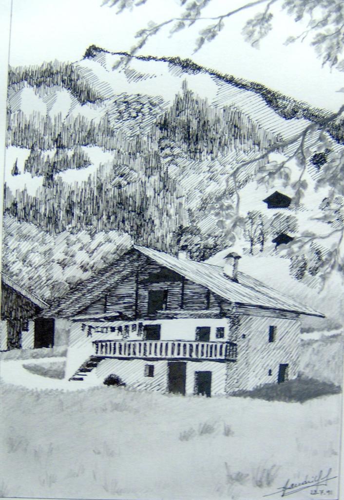 Paysages plume et crayon - Dessin de chalet de montagne ...